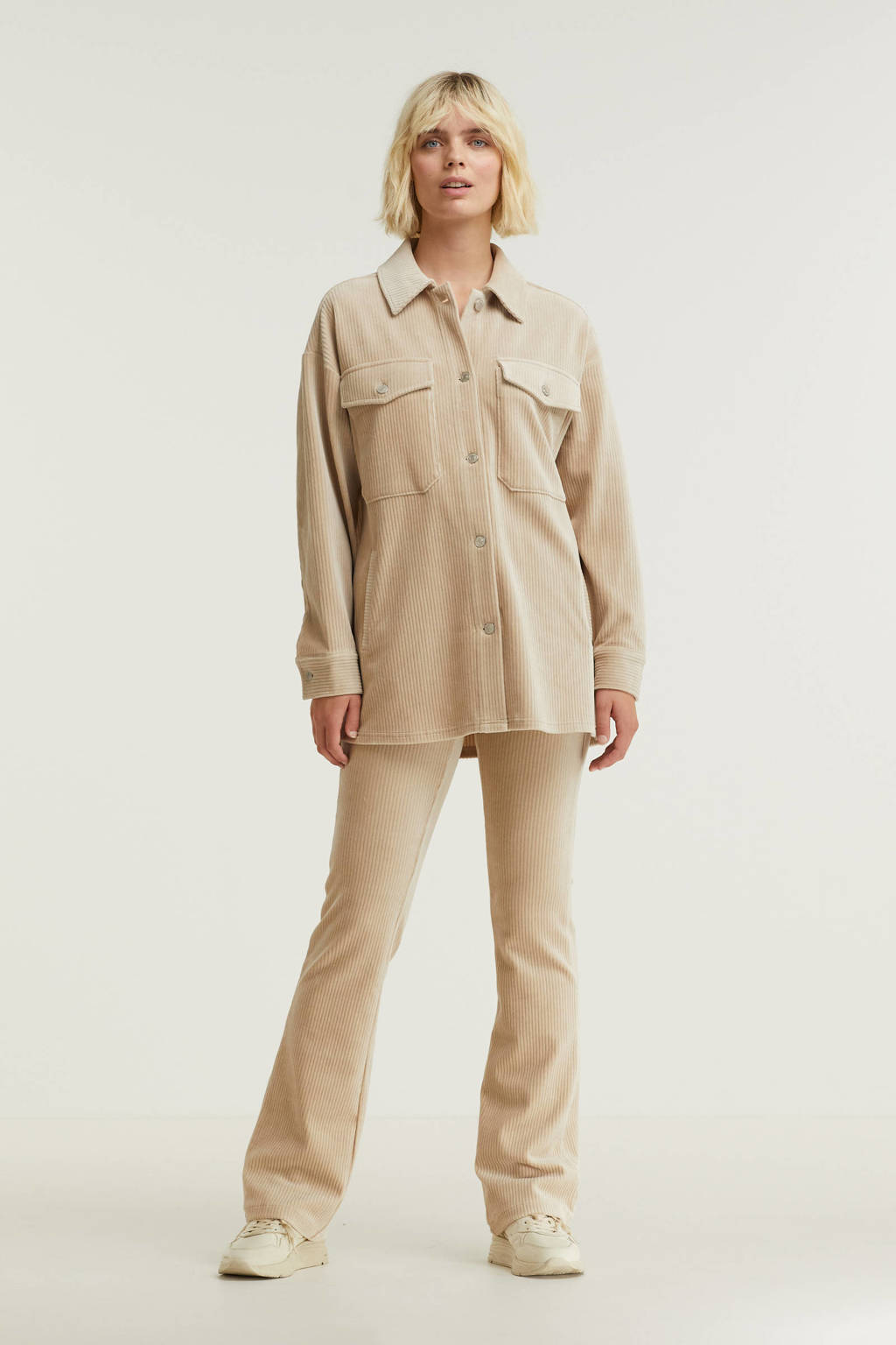 Esqualo corduroy blouse beige, Beige