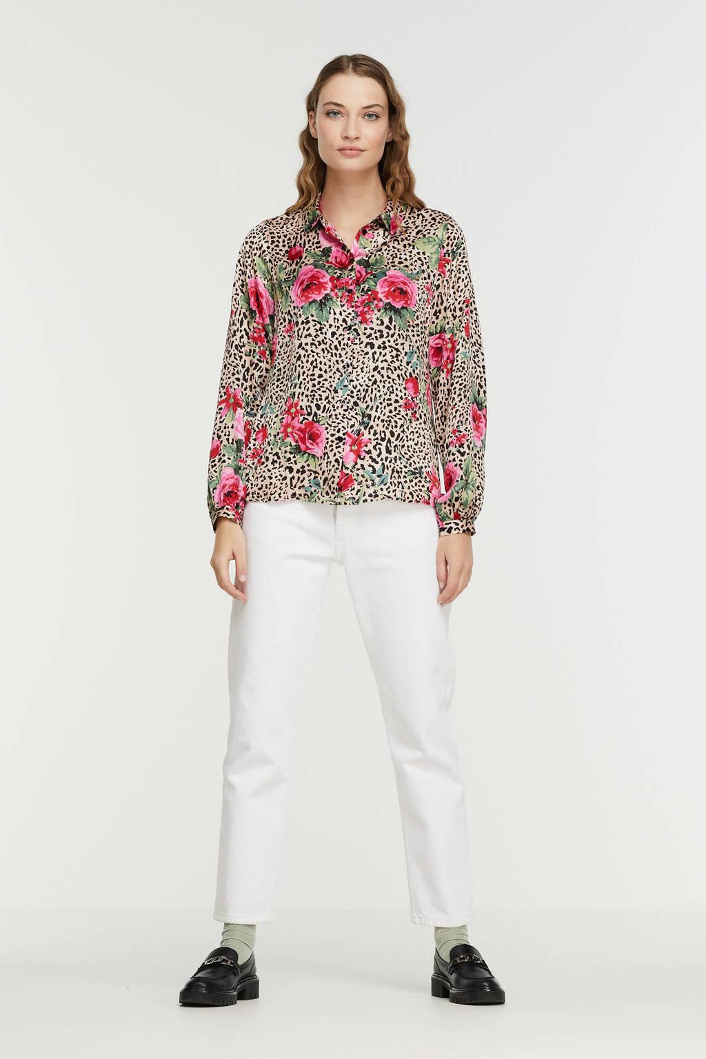 Esqualo gebloemde blouse beige/ roze, Print