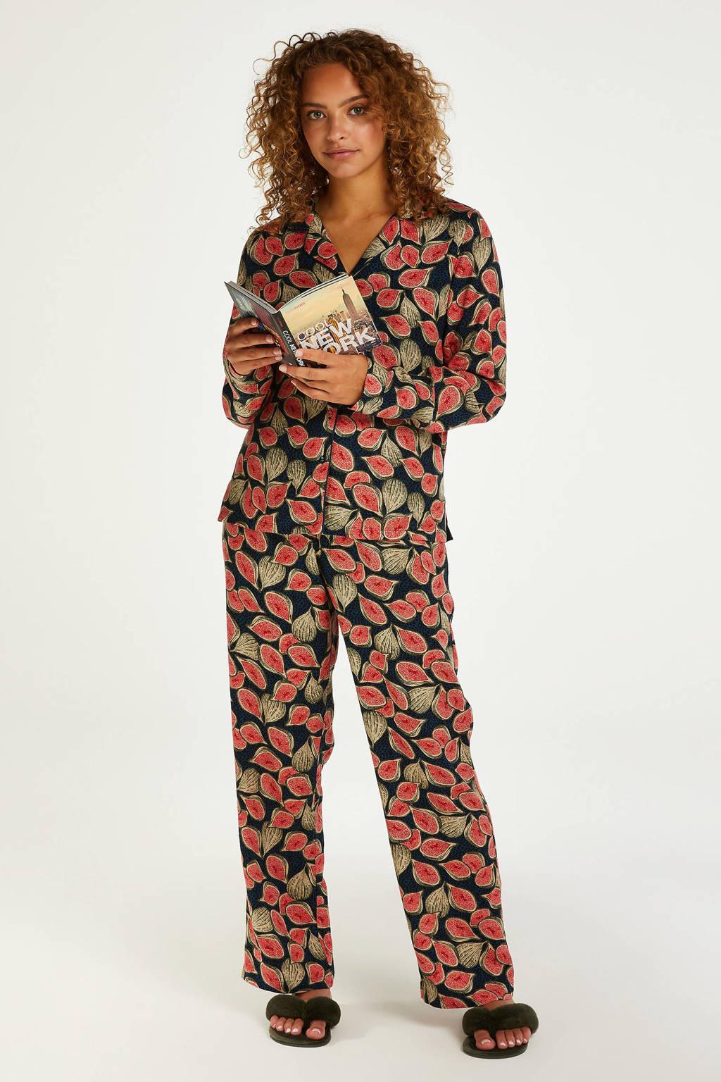 Hunkemöller pyjamatop met all over print donkerblauw/roze, Donkerblauw/roze