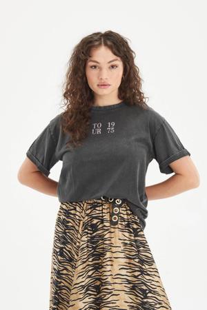 oversized fit T-shirt Lost met printopdruk antraciet