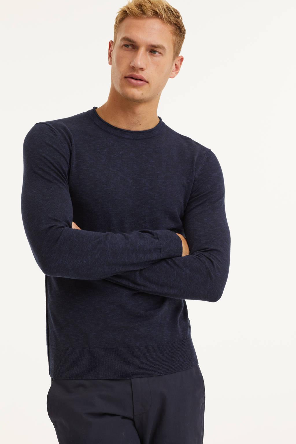 BOSS Casual gemêleerde trui Kamnioda donkerblauw, Donkerblauw