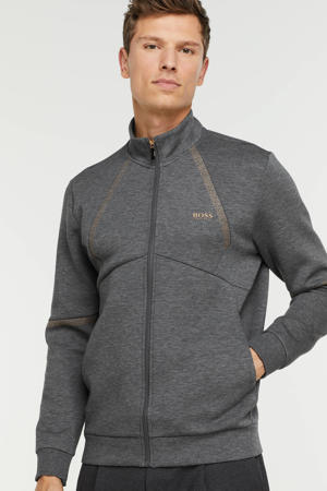 gemêleerd sweatvest met contrastbies medium grey
