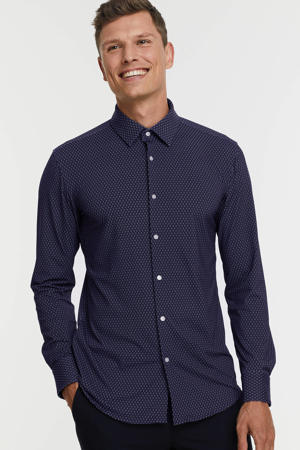 slim fit overhemd HANK met all over print 410 navy