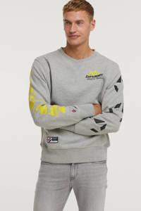 Superdry sweater met all over print grey slub grindle, Grey Slub Grindle