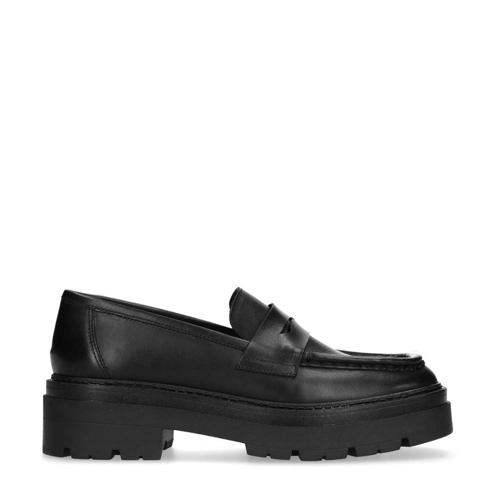 Sacha   leren chunky loafers zwart, Zwart