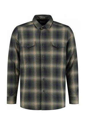 geruit regular fit overhemd dark army