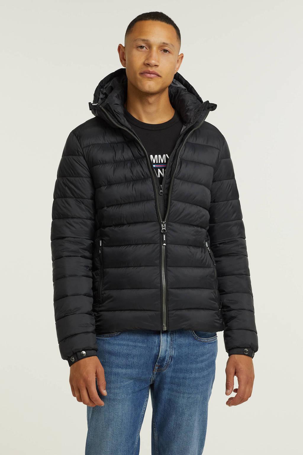 Superdry padded jas zwart, Zwart
