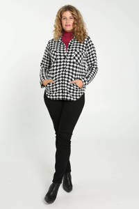 Paprika gebreide blouse met pied-de-poule wit/zwart, Wit/zwart