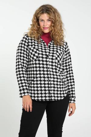 gebreide blouse met pied-de-poule wit/zwart
