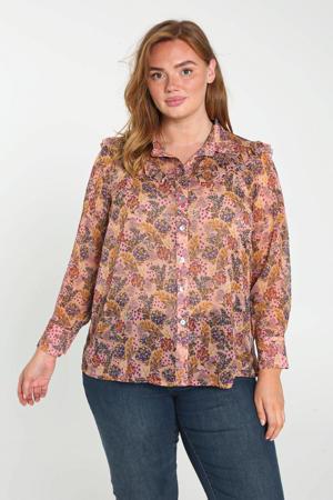 gebloemde semi-transparante geweven blouse lichtroze/donkerrood/paars