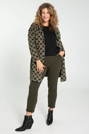 coat met all over print zwart/olijfgroen/wit