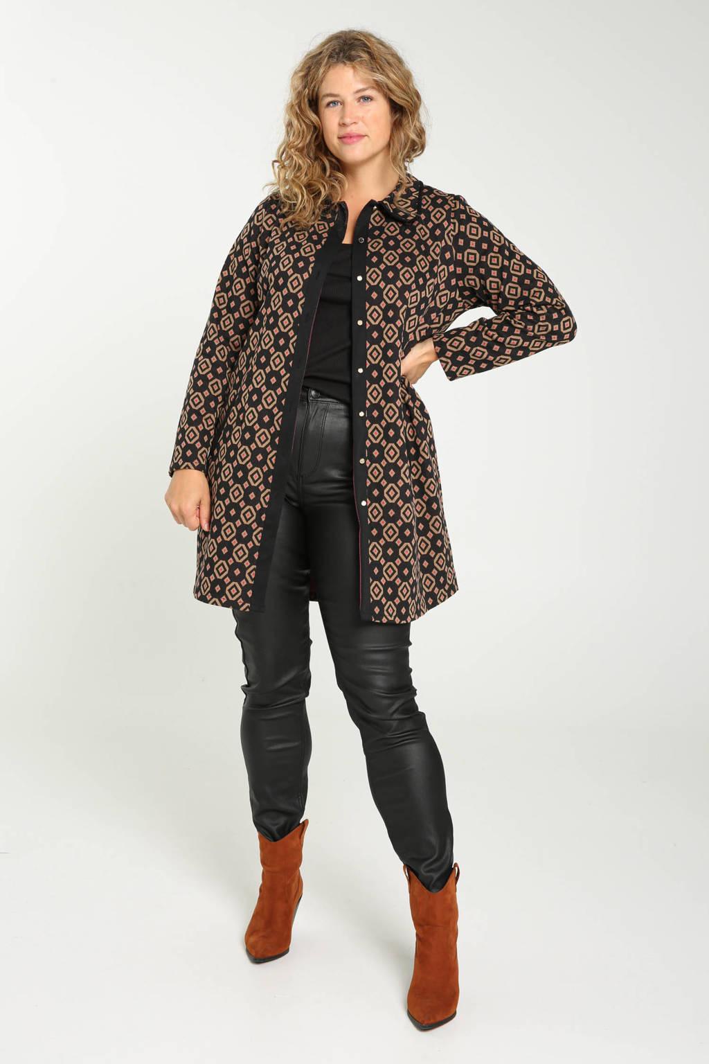 Paprika  coat tussen met jacquard zwart/bruin/roze, Zwart/bruin/roze