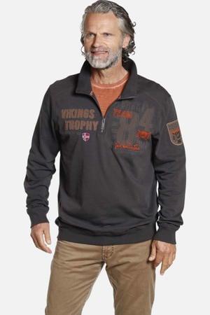 sweater THORALF Plus Size met borduursels bruin