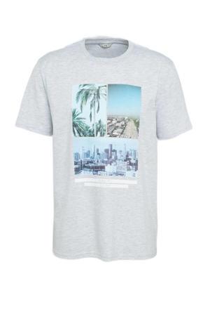 T-shirt met printopdruk lichtgrijs