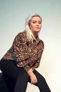 ONLY CARMAKOMA blouse CARFILABO met dierenprint lichtbruin/zwart, Lichtbruin/zwart