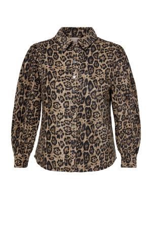 blouse CARFILABO met dierenprint lichtbruin/zwart
