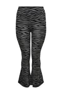ONLY CARMAKOMA flared broek CARSANNE met zebraprint grijs/zwart, Grijs/zwart