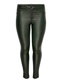 ONLY CARMAKOMA coated skinny broek CARPUNK donkergroen, Donkergroen