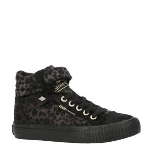 Dee  hoge sneakers met panterprint zwart/bruin