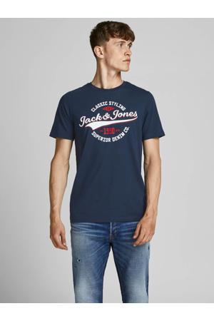 slim fit T-shirt JJELOGO met logo navy blazer