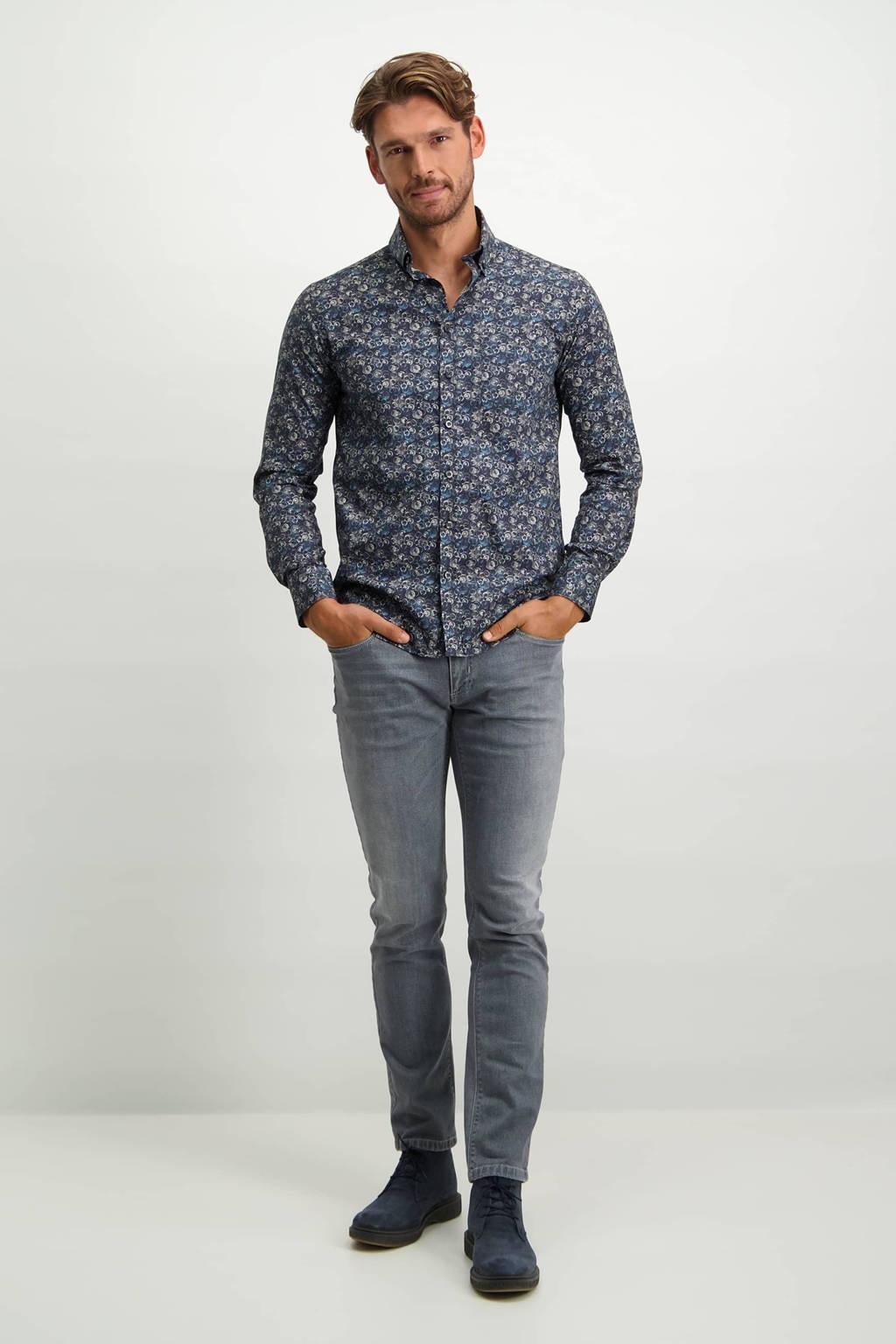 State of Art regular fit denim overhemd met all over print donkerblauw/zilvergrijs, Donkerblauw/zilvergrijs
