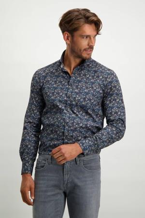 regular fit denim overhemd met all over print donkerblauw/zilvergrijs
