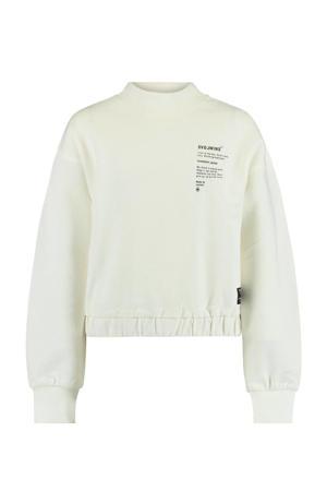 sweater Sabi met tekst ecru