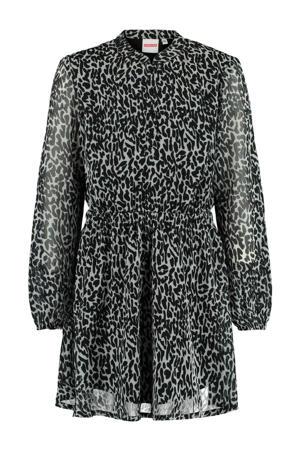 jurk Dilara  met panterprint beige/zwart