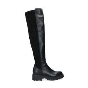 leren overknee laarzen zwart