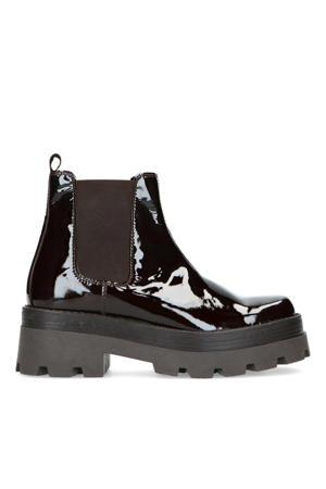 lakleren chelsea boots donkerbruin