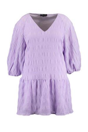 trapeze jurk met volant lila