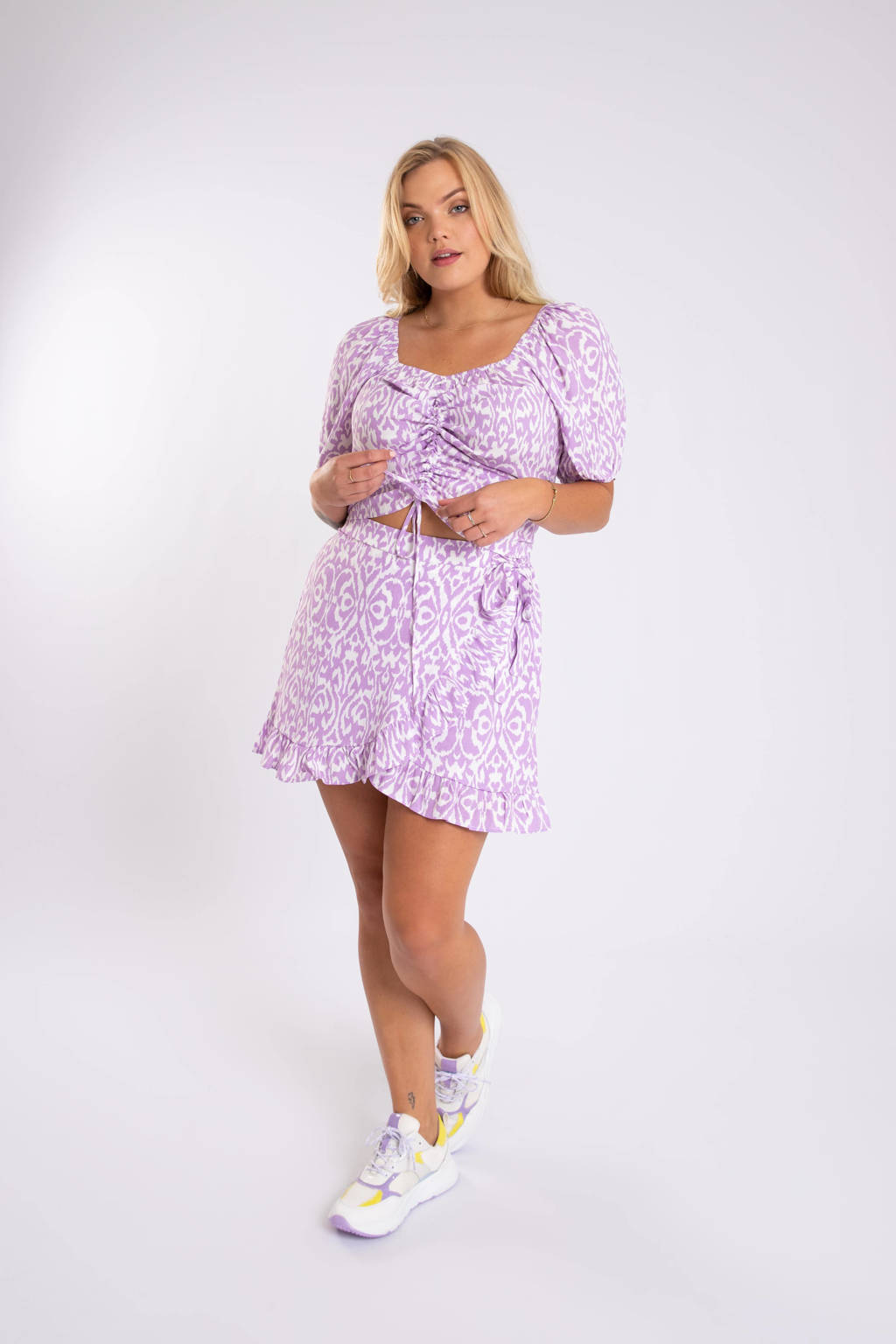 MS Mode skort met all over print lila, Lila