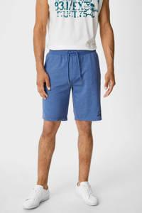 C&A gemêleerde regular fit sweatshort blauw, Blauw