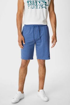 gemêleerde regular fit sweatshort blauw