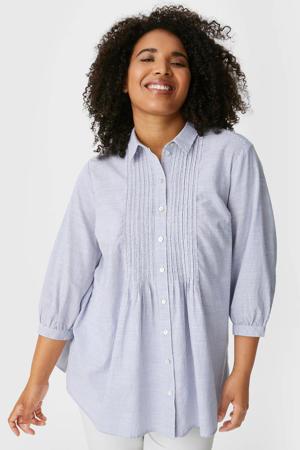 gestreepte blouse van biologisch katoen lichtblauw