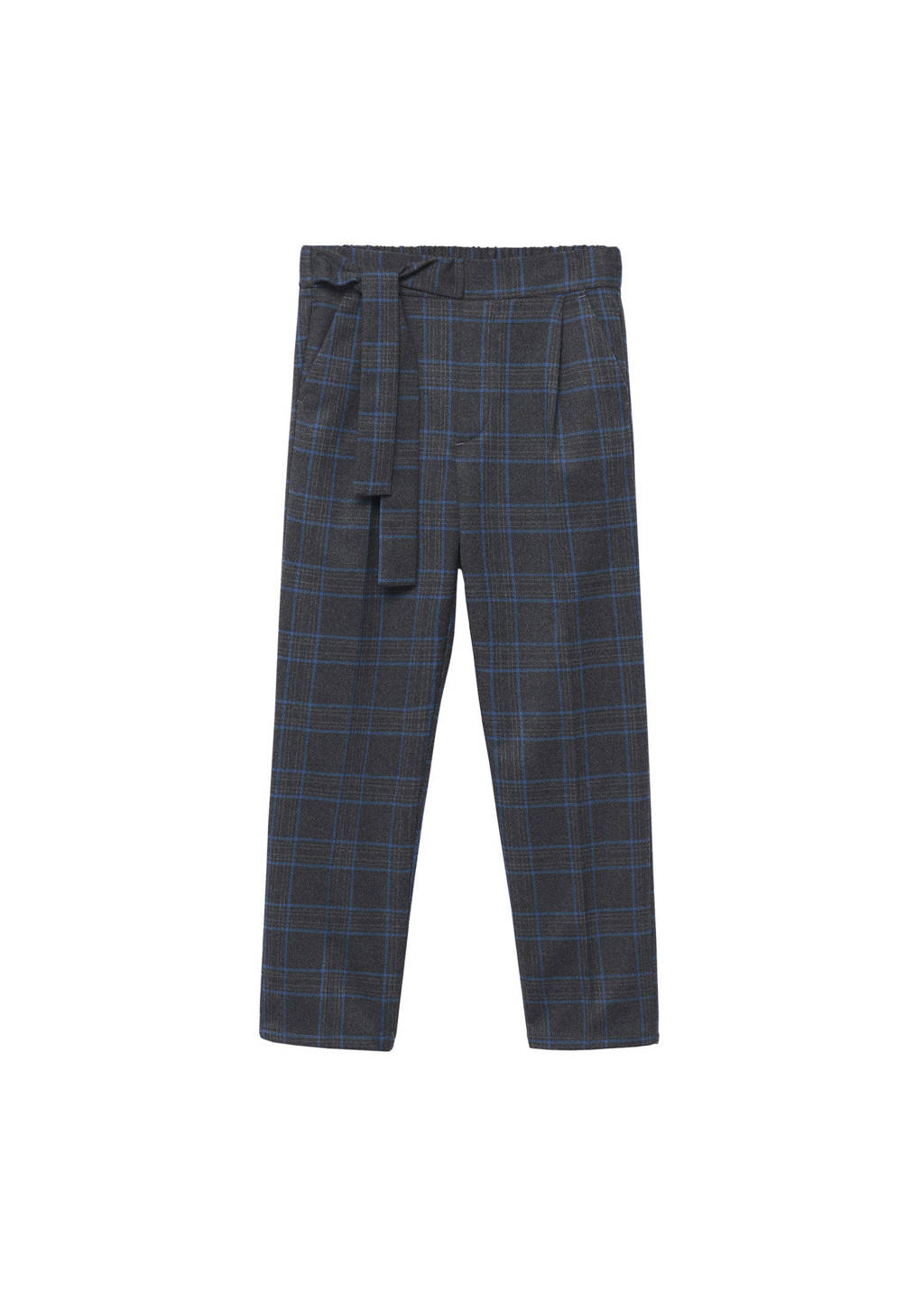 Mango Kids geruite high waist regular fit broek grijs/blauw, Grijs/blauw