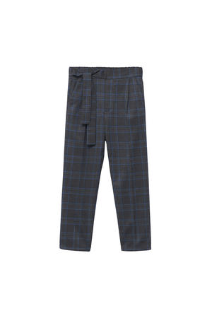 geruite high waist regular fit broek grijs/blauw