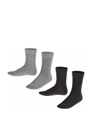 Happy sokken - set van 2 zwart/grijs