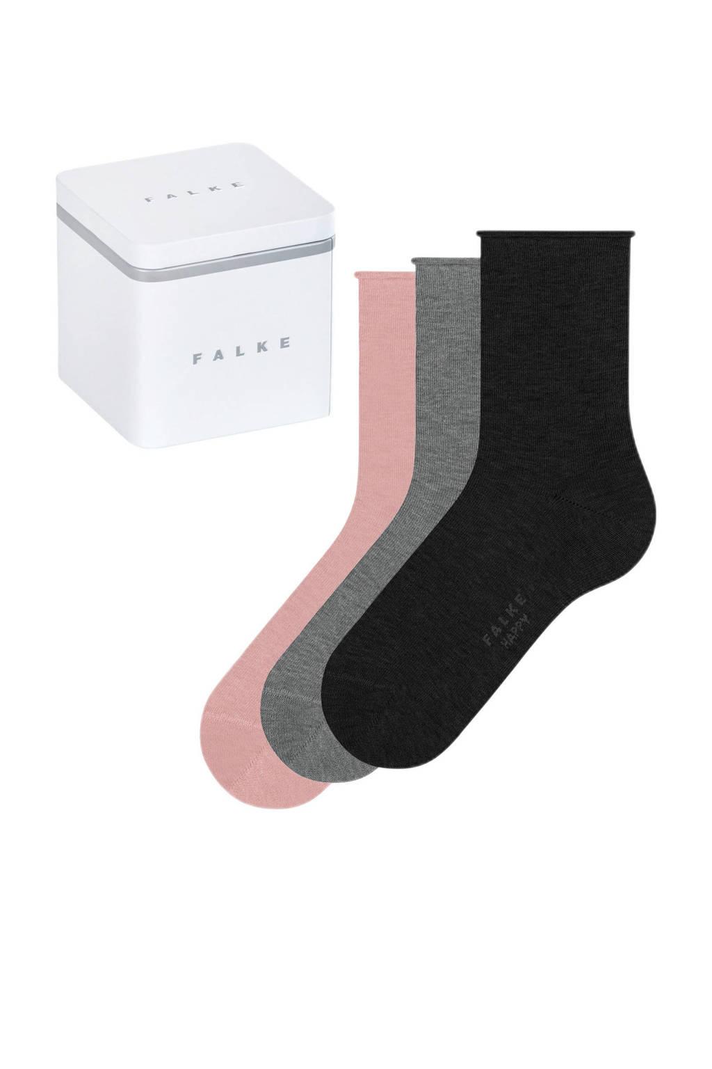 FALKE giftbox Happy sokken - set van 3 roze/grijs/zwart, Roze/grijs/zwart