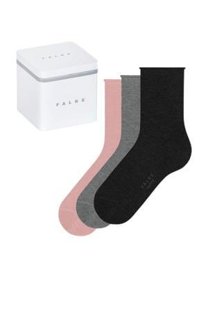 giftbox Happy sokken - set van 3 roze/grijs/zwart