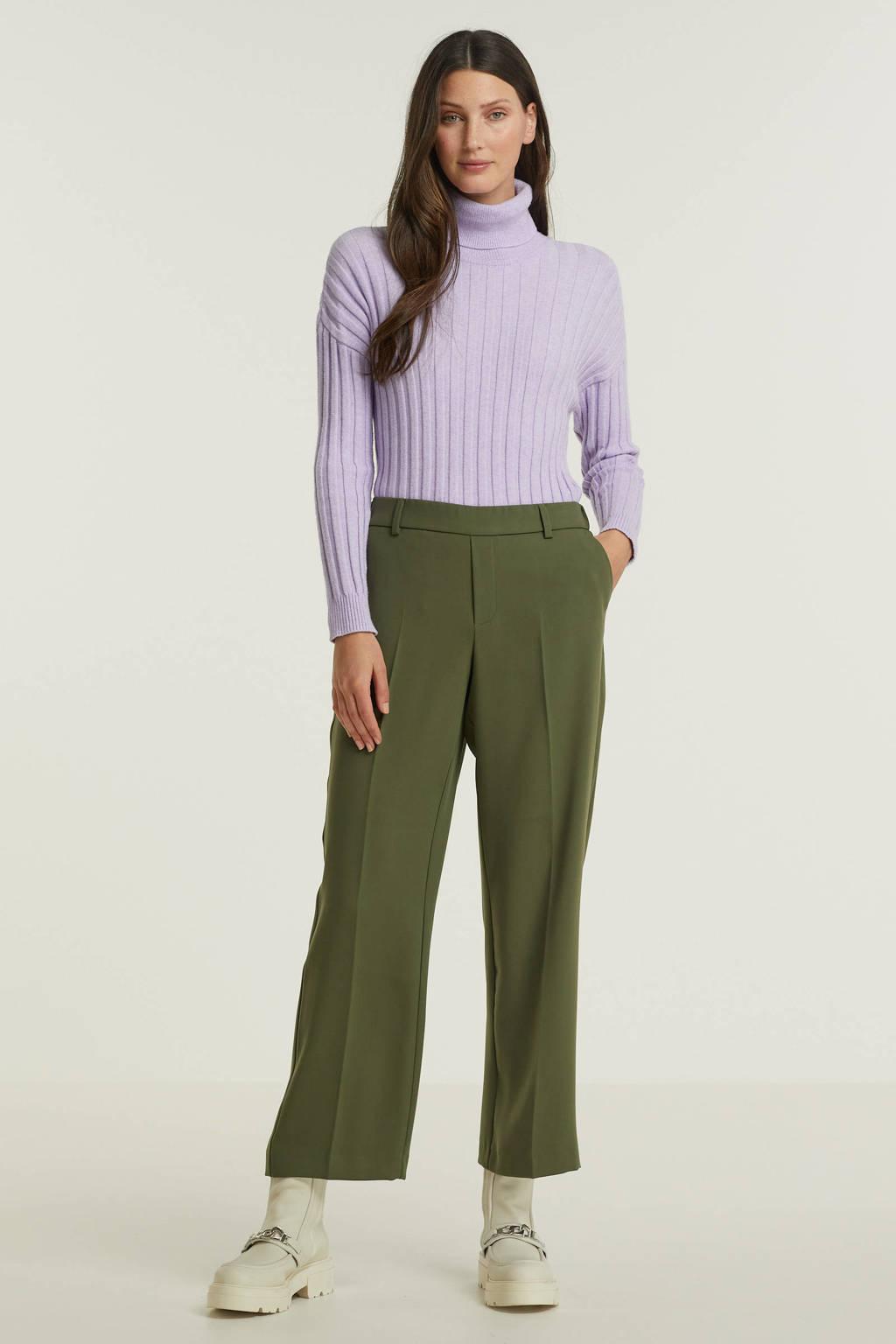 Mos Mosh cropped straight fit broek Bai Leia Pant van gerecycled polyester groen, 507 grape leaf