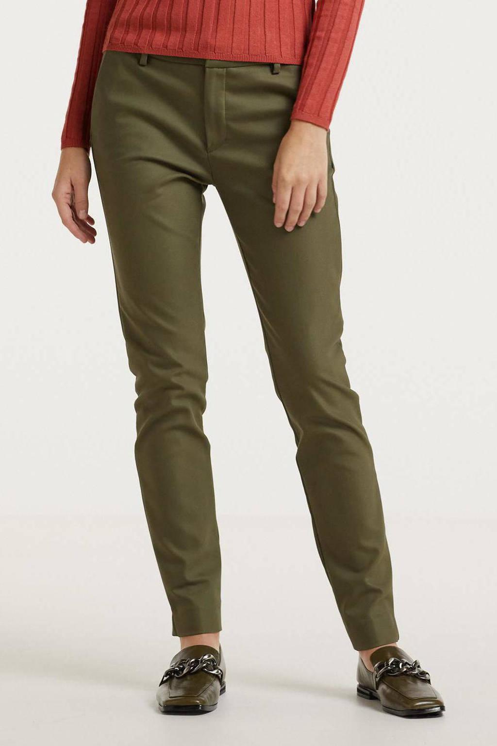 Mos Mosh regular fit pantalon Abbey Night Pant Sustainable donkergroen, 507 grape leaf