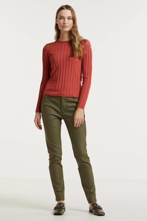 regular fit pantalon Abbey Night Pant Sustainable donkergroen