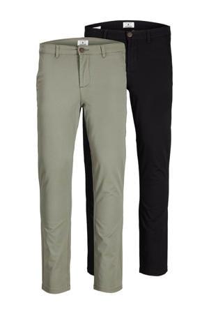 slim fit broek Marco dave zwart/groen - (set van 2)