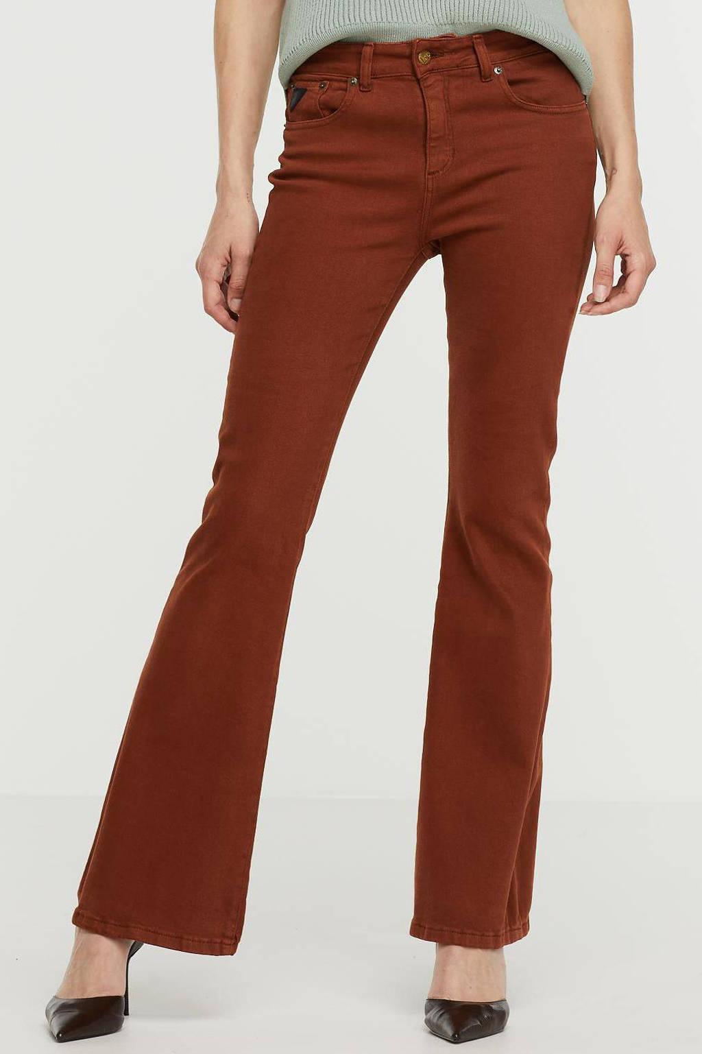 Lois high waist flared broek bruin, Bruin