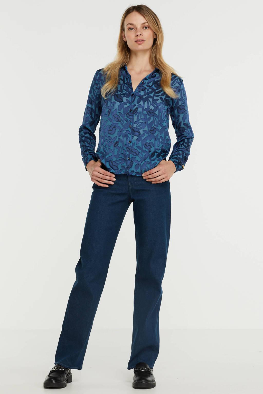 POM Amsterdam semi-transparante blouse Mila Kisses Silhouette Blue met all over print blauw, Blauw