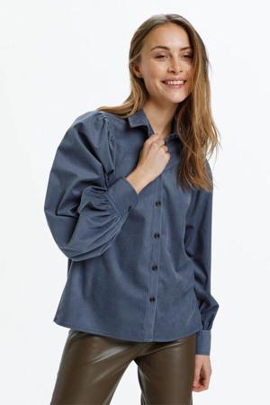 corduroy blouse Llia met plooien grijsblauw