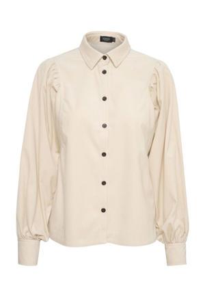 corduroy blouse Llia met plooien beige