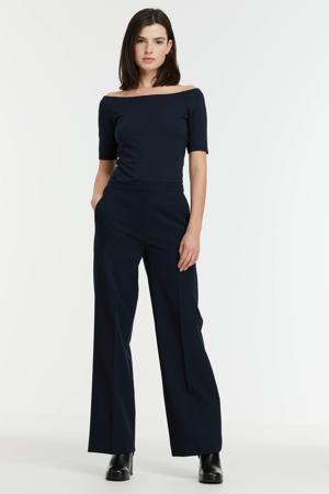 wide leg pantalon Moore van gerecycled polyester donkerblauw