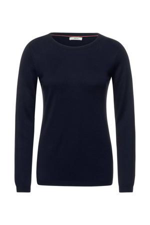 fijngebreide trui donkerblauw